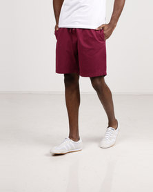 Resist Casual Shorts With Elasticated Waist Tie Burgundy