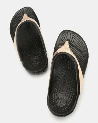 f7c4c47a74dc Crocs Sloane Hammered Met Flip Flops W Black Rose Gold
