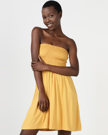 Utopia Boob Tube Midi Dress Mustard