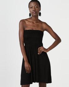 Utopia Boob Tube Midi Dress Black