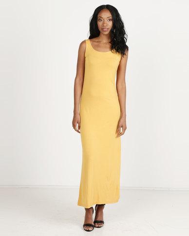 39ef42b7f06 Utopia Basic Maxi T-Shirt Dress Mustard