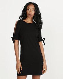 Utopia T-Shirt Dress With Tie Sleeve Black
