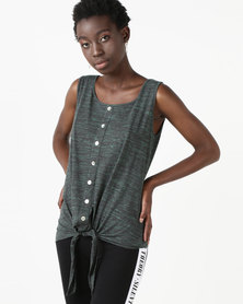 Utopia Knot Front Vest Black Melange