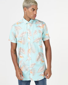 Utopia Tropical Printed Shirt Turquoise