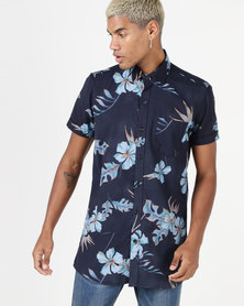 Utopia Hibiscus Printed Shirt Blue