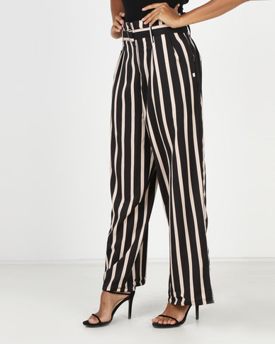 Revenge Stripe Trousers Beige