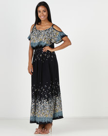 Revenge Cold Shoulder Maxi Dress Navy