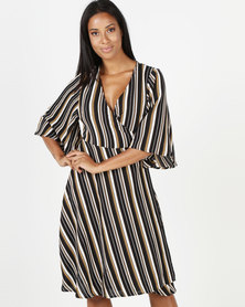 Revenge Striped Wrap Dress Mustard