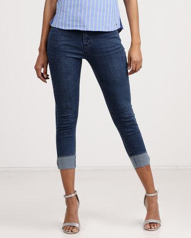 6e0cd6b51a2fe3 Sissy Boy Turn Up Detail Capri Jeans Dark Blue