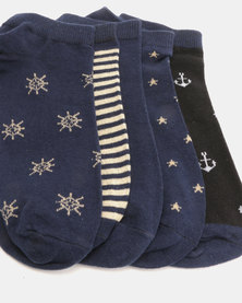 Joy Collectables 5 Pack Nautical Ankle Socks Multi