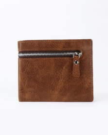 Joy Collectables PU Zip Detailed Wallet Brown