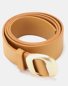 Joy Collectables Square Buckle Belt Tan
