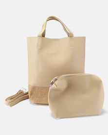 Joy Collectables Straw Detailed Tote Nude
