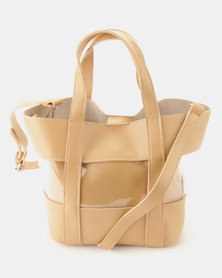 Joy Collectables Clear and PU Shopper Bag Camel