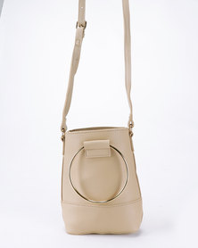 Joy Collectables Crossbody Bag with Ring Handle Nude