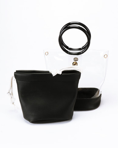 Joy Collectables Lined Transparent Crossbody Bag Charcoal