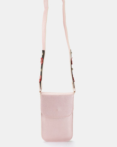 Joy Collectables Metallic Crossbody Cellphone Pouch Pink