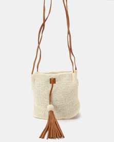 Joy Collectables Tassel and Bead Detailed Crossbody Bag White