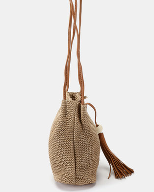 394b091c5653 Joy Collectables Tassel and Bead Detailed Crossbody Bag Tan