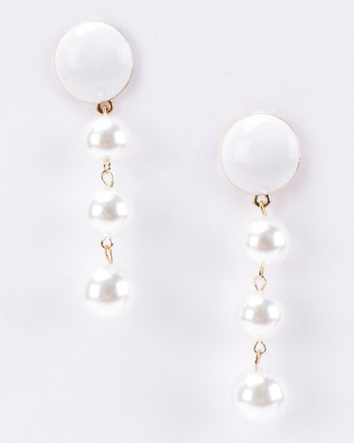 Joy Collectables Faux Pearl Drop Earrings Cream