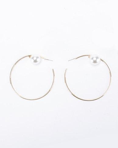 Joy Collectables Pearl Hoop Earrings Gold-tone