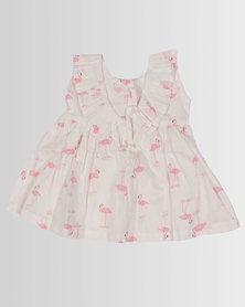 Kapas Baby Frilly Dress Flamingo