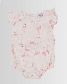 Kapas Baby Frilly Playsuit Flamingo