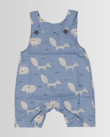 Kapas Baby Summer Dungarees Foxes Blue