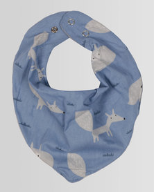 Kapas Baby Dribble Bib Foxes Blue