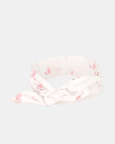 Kapas Baby Knot Headband Flamingos White