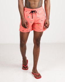Granadilla Men's Swim Shorts Taxi Print Orange