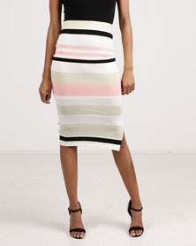 Sissy Boy Stripe Knit Midi Skirt Multi