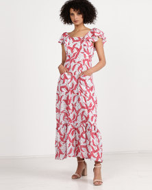 Crave Feather Print Maxi Dress Red/White