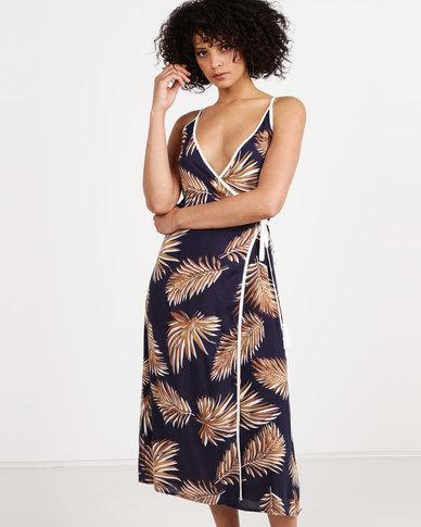Crave Leaf Print Wrap Dress Navy