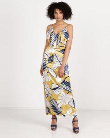 Crave Printed Maxi Dress Yellow