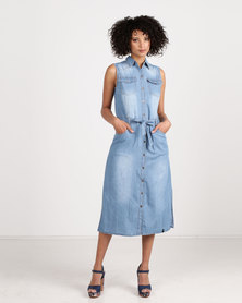 Crave Sleeveless Denim Dress Blue Wash