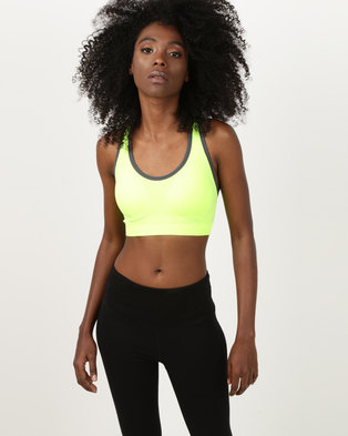 05023228e1 Fineapple Seamless Sports Bra With Removable Padding Lime Green