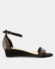 Bata Embellished Wedge Sandal Black