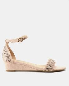 Bata Embellished Wedge Sandal Nude