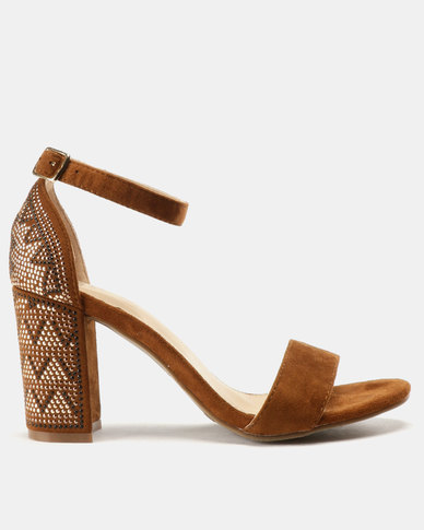 7fee48dcd70 Bata Embellished Block Heel Sandal Camel