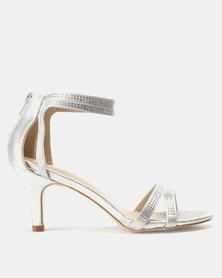 Bata Strappy Heeled Sandal Silver