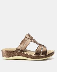 Bata Comfit Slip On Bandage Sandal Bronze
