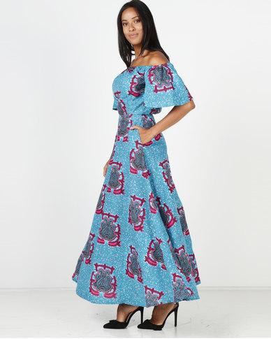 0a5bce08c9a7 Black Buttons Alison Off-Shoulder Dress Blue Multi