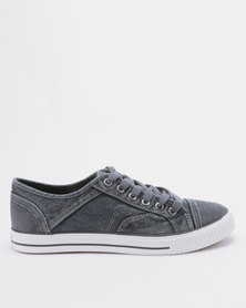 Tomy Takkies Mens Washed Denim Lace Up Sneakers Light Blue