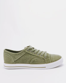 Tomy Takkies Mens Washed Denim Lace Up Sneakers Khaki