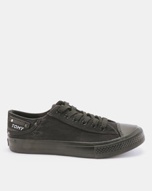 Tomy Takkies Mens Washed Lace Up Sneakers With Toecap Black