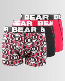 Bear 3pk Geo Print Body Shorts Red