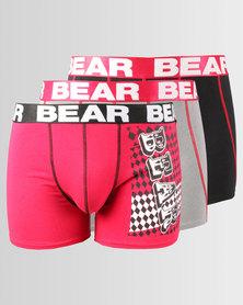Bear 3pk Panel Print Body Shorts Black/Red