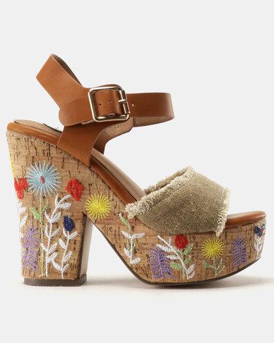 Footwork Teagan Wedge Sandal Khaki Denim