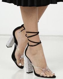 Public Desire Anda Diamante Heels Black